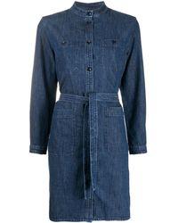 A.P.C. Button Down Tie Waist Denim Shirt - Blue