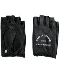 Karl Lagerfeld Rue St Guillaume Fingerless Gloves - Black