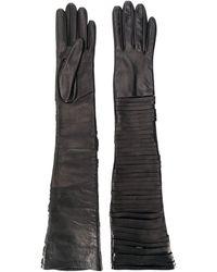 Manokhi Длинные Перчатки С Разрезами - Коричневый