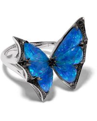 Stephen Webster 18kt White Gold Fly By Night Crystal Haze Quartz And Diamond Small Ring - Metallic