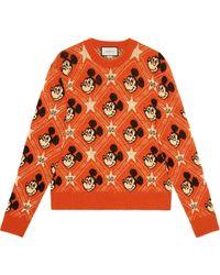 Gucci X Disney Trui Met Jacquard - Oranje