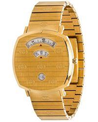 Gucci 'Grip' Armbanduhr mit Logo-Gravur, 35mm - Mettallic