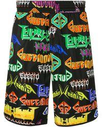 Gucci Bañador con logo estampado estilo heavy metal - Negro