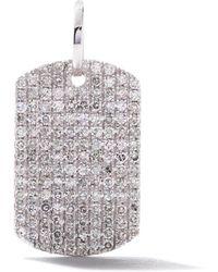 AS29 18k White Gold Pave Diamond Curved Rectangle Pendant - Metallic