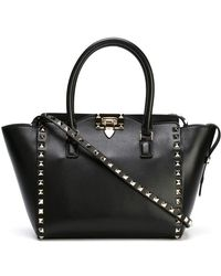 24d3ec04e Valentino Rockstud Patent Leather Tote Bag in Green - Lyst