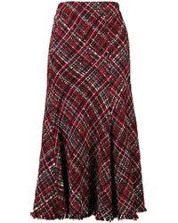 Alexander McQueen - Checked Midi Skirt - Lyst