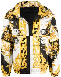 Versace Baroque Print Puffer Jacket - Yellow