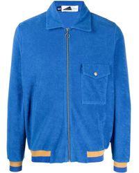 Anglozine ジップ ニットシャツジャケット - ブルー
