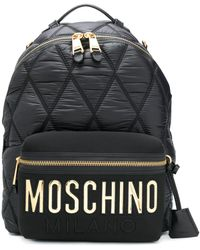Moschino Large Quilted Logo Backpack - ブラック