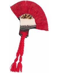 Junya Watanabe Plume-embellished Ear Flap Hat - Red