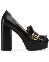 Gucci Marmont Leather Platform Court Shoes - Black