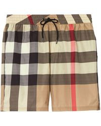 Burberry Short De Bain En Techno À Carreaux - Multicolore
