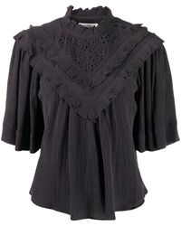 Étoile Isabel Marant Ruffle Detail T-shirt With Broderie Anglaise - Grey