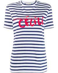 Être Cécile Camiseta a rayas con logo - Azul