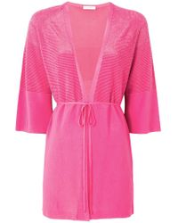Cruciani - Cropped Sleeve Tie Front Cardigan - Lyst