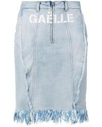 Gaëlle Bonheur - Logo Print Denim Skirt - Lyst