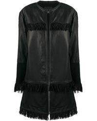 Pinko Пальто С Бахромой - Черный