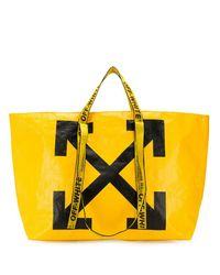 Off-White c/o Virgil Abloh Arrows Tote Bag In Yellow And Black Pvc