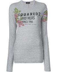 DSquared² Floral Logo Printed Top - Серый