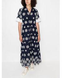 Evi Grintela Vestido camisero midi con estampado geométrico - Azul