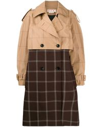 Marni Two-tone Chequered Trench Coat - Brown