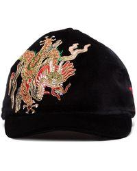 Gucci Samtkappe mit Drachen-Stickerei - Schwarz