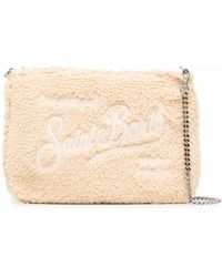 Mc2 Saint Barth Logo Shearling Clutch Bag - Natural