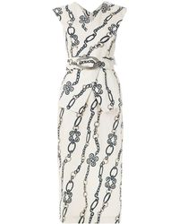 Framed Chain Midi Dress - Multicolour