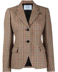 Prada Tweed Single-breasted Jacket - Multicolour