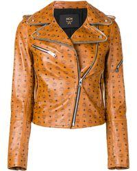 MCM All Over Logo Biker Jacket - Brown