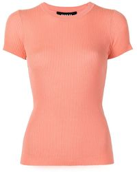 Paule Ka Round Neck Short-sleeved Knitted Top - Pink