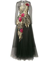 Oscar de la Renta Structured Golden Gown - Black