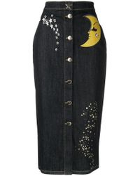 Boutique Moschino - Denim Button Skirt - Lyst