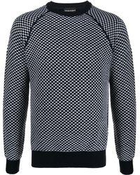 Emporio Armani チェック セーター - ブルー