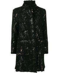 Avant Toi Glitter Detail Coat - Black