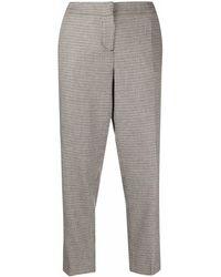 Eleventy Pantalones capri con motivo pied de poule - Gris