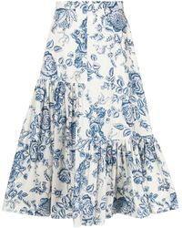 Erdem Gaura フローラル スカート - ブルー