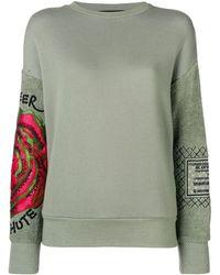 Mr & Mrs Italy Embroidered sleeve sweatshirt - Vert