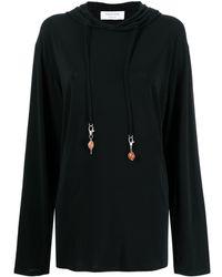 Marine Serre Knitted Hooded Sweatshirt - Black
