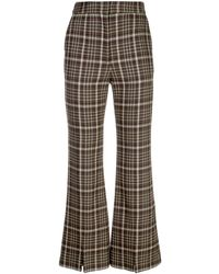 Adam Lippes Plaid Flared Trousers - Brown
