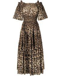 Dolce & Gabbana Midi-jurk Met Luipaardprint - Bruin