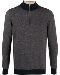 N.Peal Cashmere コントラストカフス セーター - ブルー