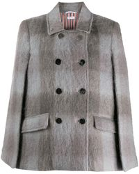 Thom Browne Db High Break Cape In Large Buffalo Check Hairy Mohair - Gray