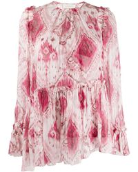 Zimmermann Wavelength Boho Print Asymmetric Silk Blouse - Pink