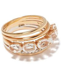 Brumani 18kt Rose And White Gold Looping Diamond And Quartz Ring - Metallic