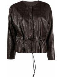 Giorgio Armani Textured Leather Jacket - Brown
