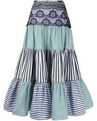 Silvia Tcherassi Flagler パネル スカート - ブルー
