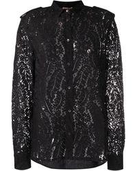 N°21 Рубашка Из Цветочного Кружева - Черный