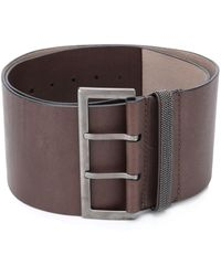 Brunello Cucinelli Wide Buckle Belt - Brown