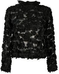 Giorgio Armani Semi-sheer Textured Top - Black